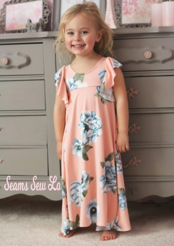 Be Dreamy long girls dress sewing pattern by Ellie and Mac