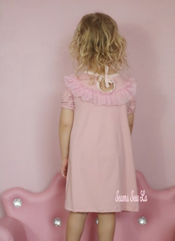 girls ruffle dress sewing pattern peachy pie by Ellie and Mac pink back