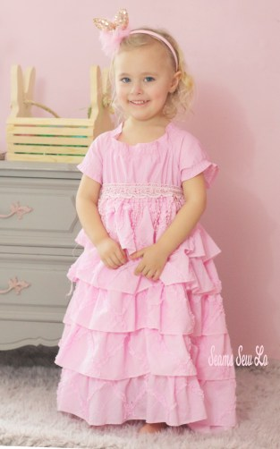Girls Easter dress sewing pattern by Handmaidens Cottage Petticoat dress pink ruffles 2
