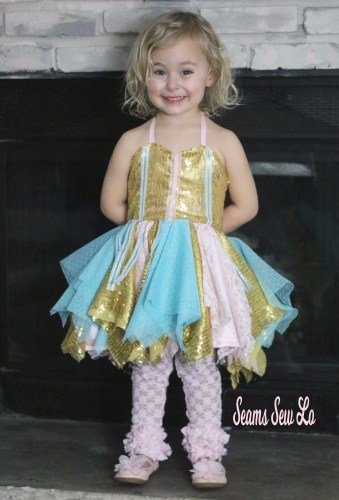 Gold Pink and Blue Party Dress for girls with sequins, lace and swiss dot tulle sewing pattern