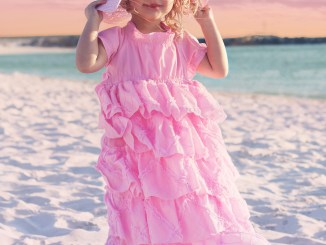 Girls Pink Easter Dress, Handmaiden's Cottage Petticoat Dress Sewing Pattern