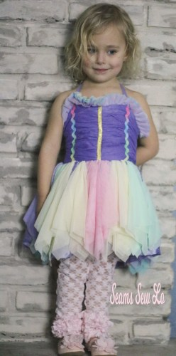 pastel rainbow dress sewing pattern with pink lace ruffled leggings
