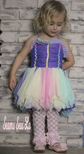 ruffled lace leggings with ott rainbow pastel dressssewing pattern