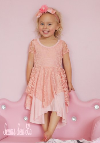 Girls Daisy Dress Sewing Pattern by Petite Stitchery & Co in Peach Rayon Spandex and Lace by Simply by Ti