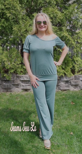 Pippa Yoga Pants Sewing Pattern by Rebecca Page in Green Glitter French Terry