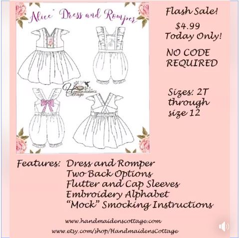 Alice Dress and Romper Sewing Pattern Flash Sale by Handmaiden's Cottage