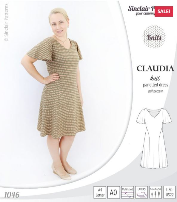 Claudia Godet Style Knit Dress With Flutter Sleeves Release and Sale