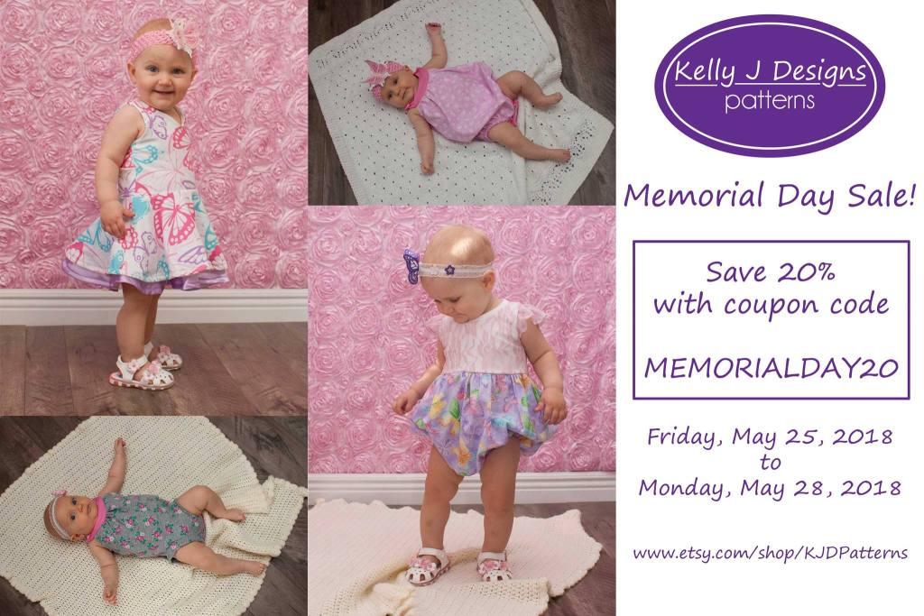 Kelly J Designs Memorial Day Sewing Pattern Sale