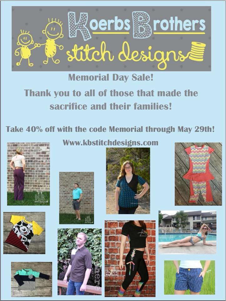 Koerbs Brothers Stitch Designs Memorial Day Sale