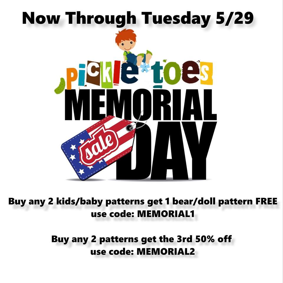 Pickle Toes Sewing Patterns Memorial Day Sale