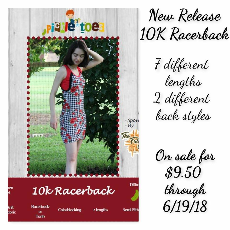 10K Racerback Tank Sewing Pattern Release and Sale by Pickle Toes