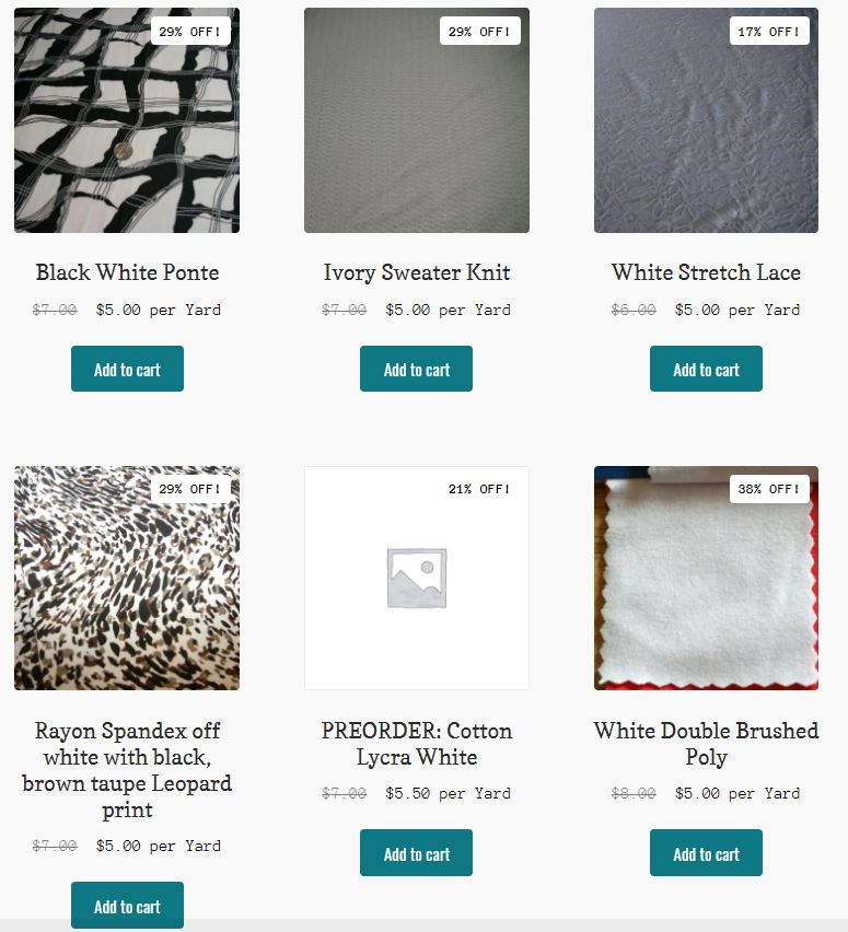 $5 Friday Fabric Sale, White Fabric, Only $5
