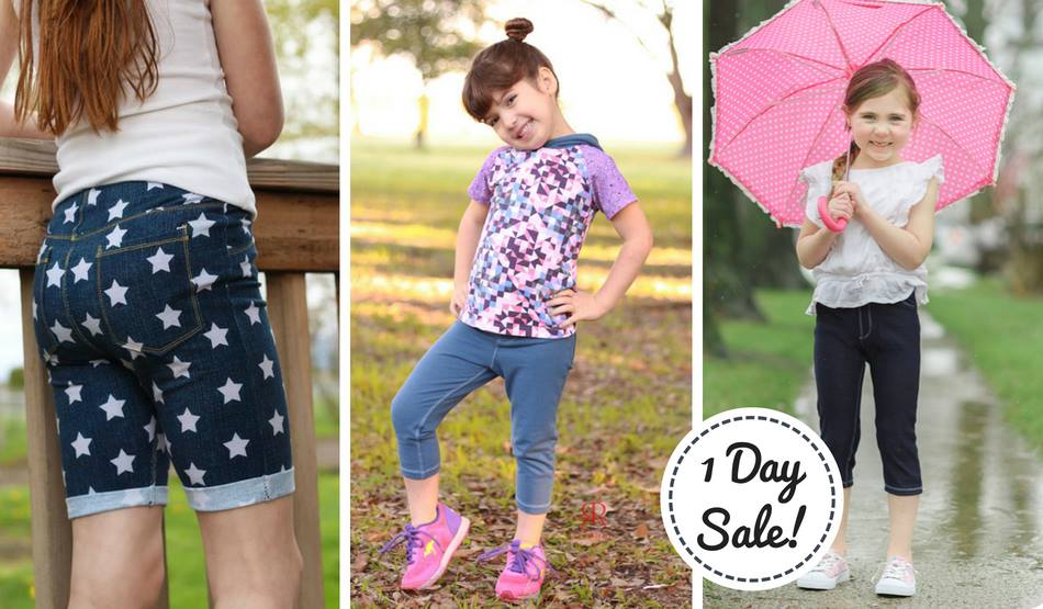 Girls Juniper Jeggings Sewing Pattern Sale, Comes in Shorts, Capris and Pants!