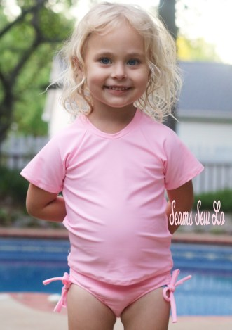 Girls Swimsuit Sewing Pattern, Plus Rash Guard.  Only $1!