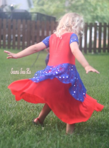 Girls Twirly 4th of July Dress Sewing Pattern in Red White and Blue