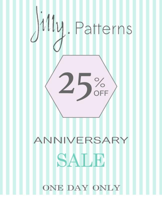 Jilly's Patterns 25% off Sewing Pattern Sale! One Day Only!