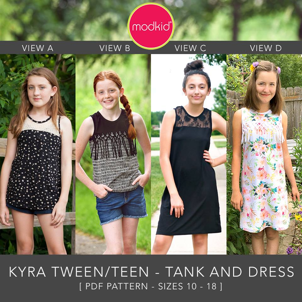 Kyra Teen Tween Tank and Dress Sewing Pattern Release and Sale