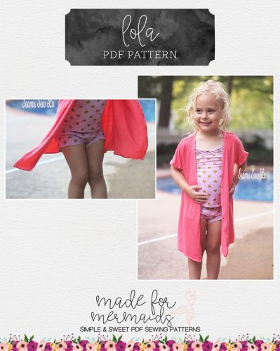 Lola Girls Swimsuit Cover Up Sewing Pattern by Made for Mermaids