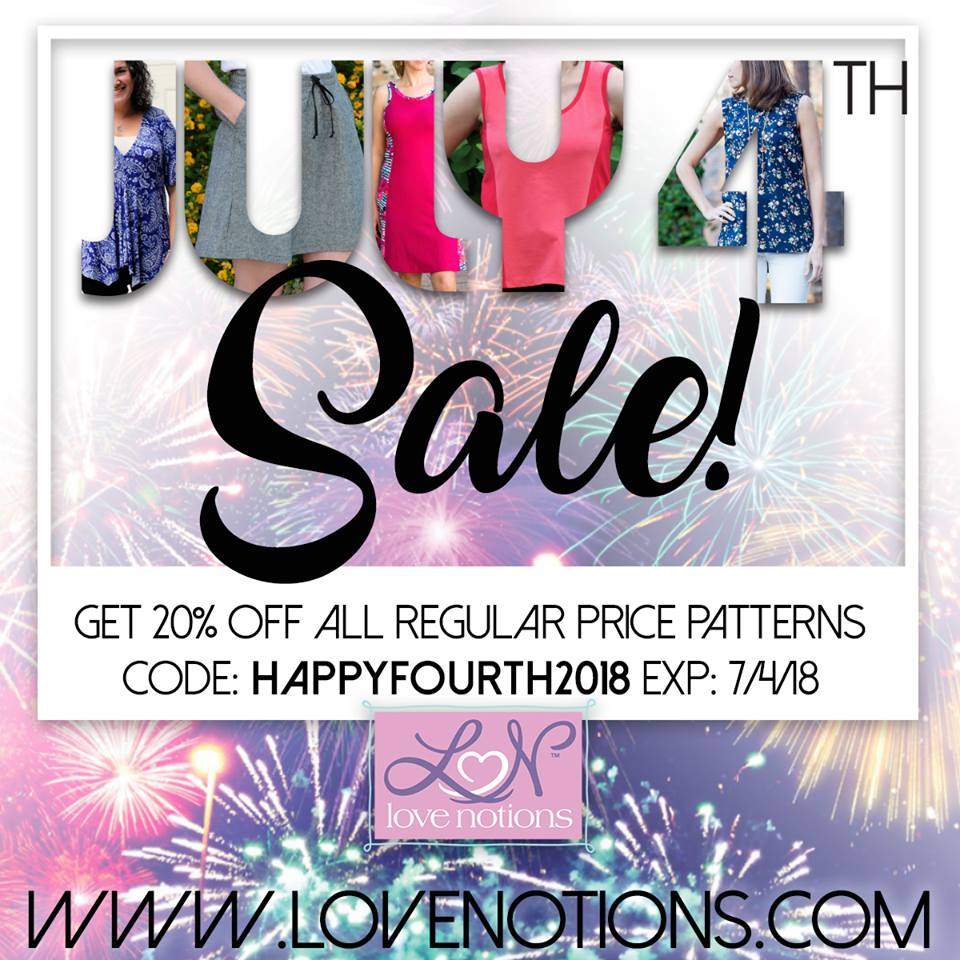 Love Notions 4th of July Sewing Pattern Sale