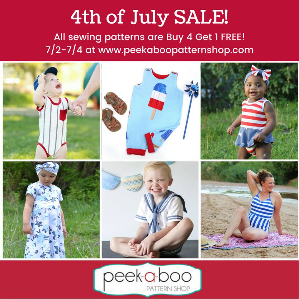 Peek A Boo Pattern Shop 4th of July Sewing Pattern Sale