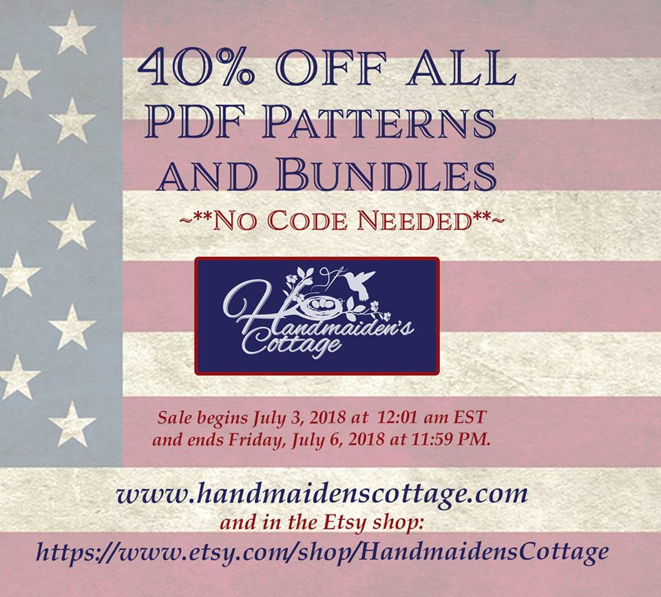 The Handmaiden's Cottage 4th of July Sewing Pattern Sale!