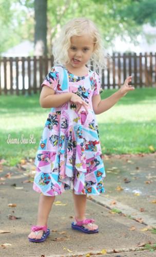 Girls Superhero Dress Sewing Pattern Pirate Pose