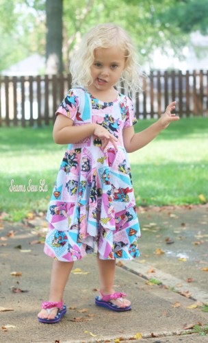 Girls Superhero Dress Sewing Pattern Pirate Pose