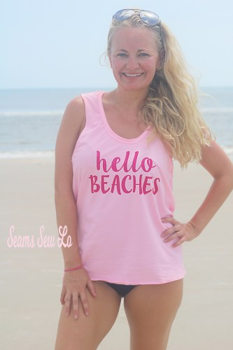 Hello Beaches Work Out Tank Sewing Pattern Open Back in Pink Swimsuit Fabric