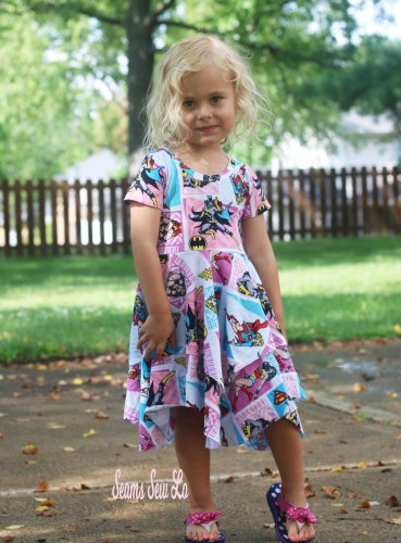 Little Girls Twirly Superhero Dress Sewing Pattern