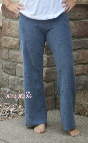 Pippa Pants Yoga Pants Sewing Pattern in Gray Distressed Knit Fabric Front