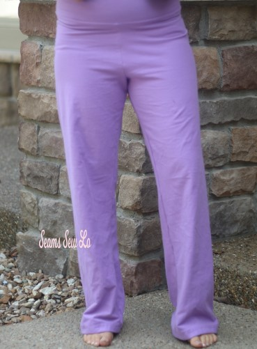 Pippa Pants Yoga Pants Sewing Pattern in Purple Cotton Lycra Front