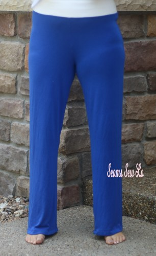 Pippa Pants Yoga Pants Sewing Pattern in Royal Blue Rayon Spandex Fabric Front