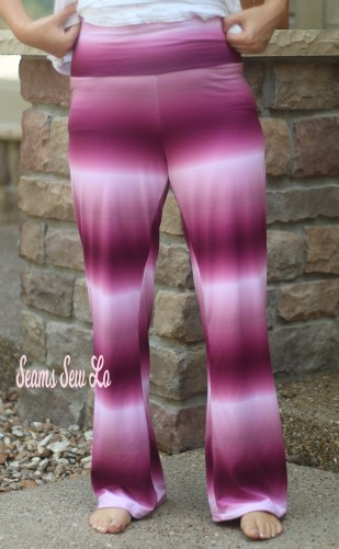 Pippa Pants Yoga Pants Sewing Pattern in Wine Ombre Double Brushed Polyester DBP Front