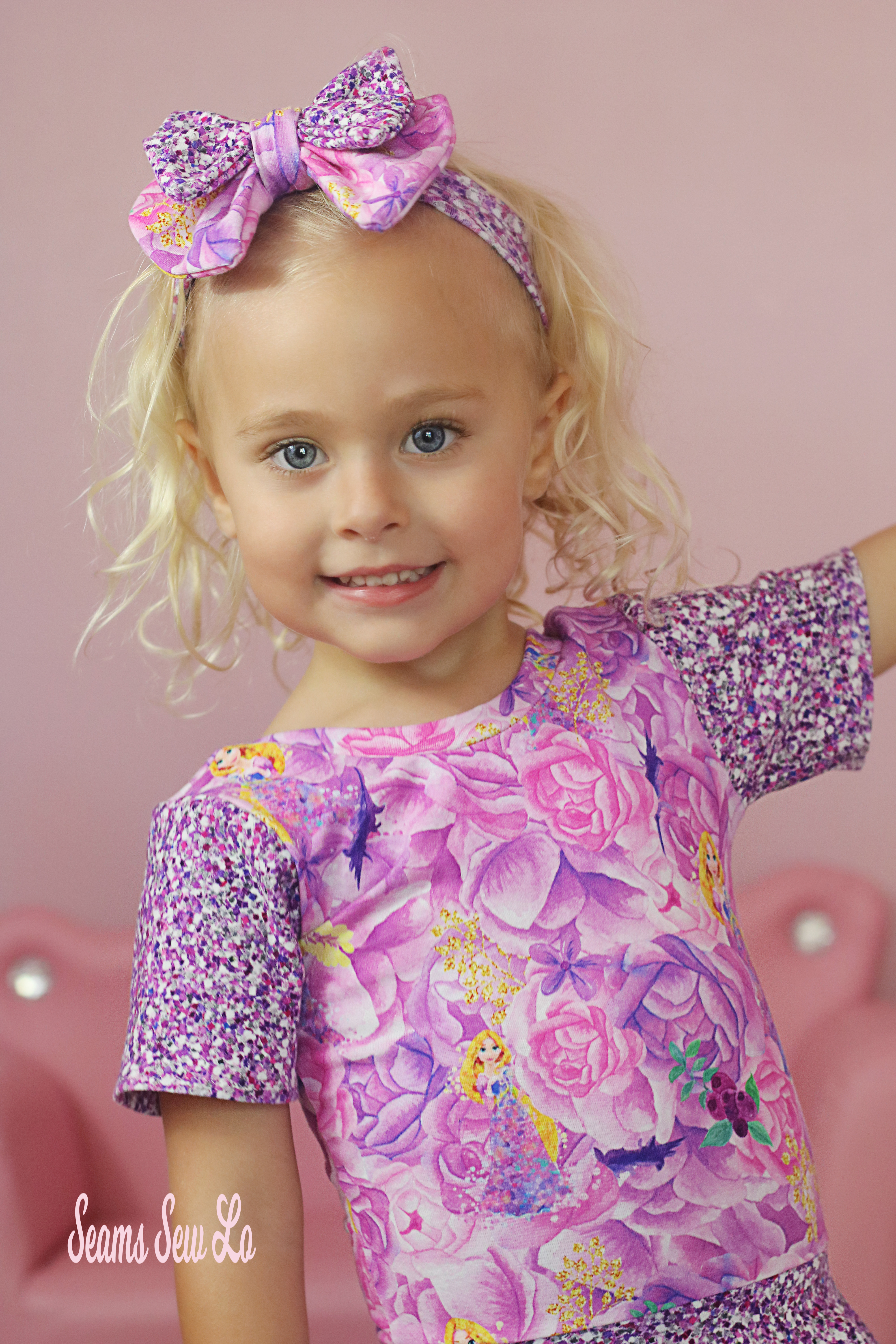 Princess Rapunzel Knit Fabric in Pink and Purple by Its Sew Creative