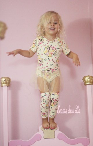 Princess Ballerina Leotard Sewing Pattern in Yellow Princess Fabric
