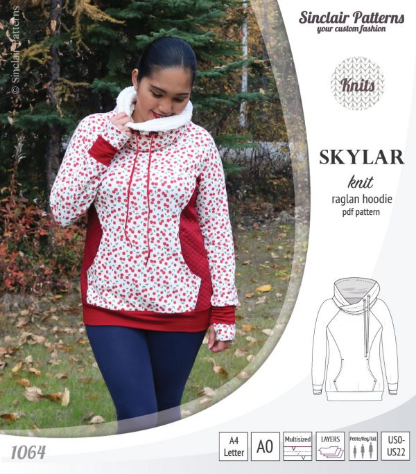 Skylar Women's Knit Raglan Hoodie Sewing Pattern Sale by Sinclair Patterns