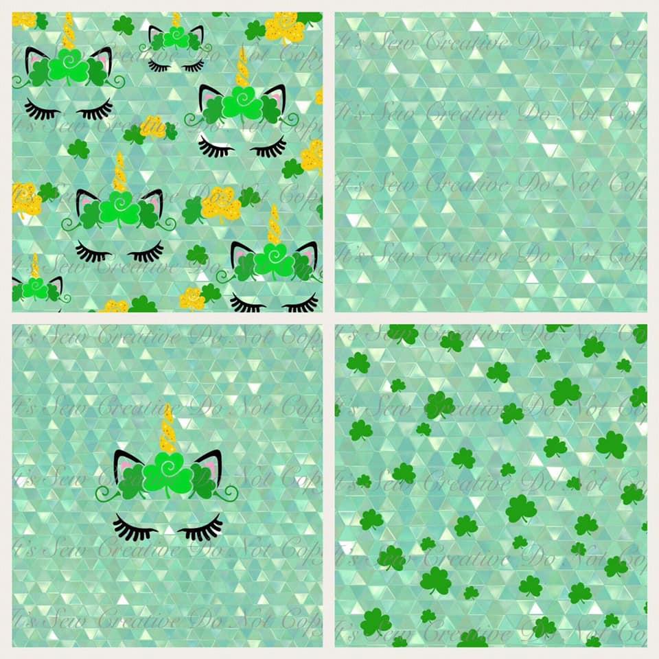 Green Shamrock Unicorn Custom Fabric