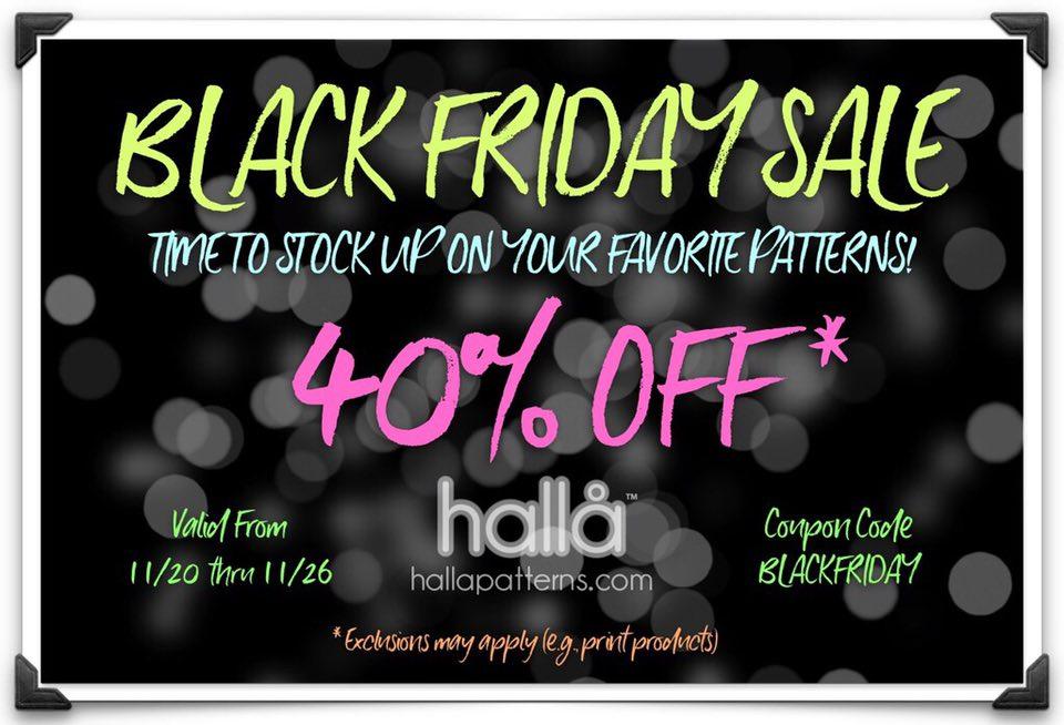 Halla Patterns Black Friday Sewing Pattern Sale
