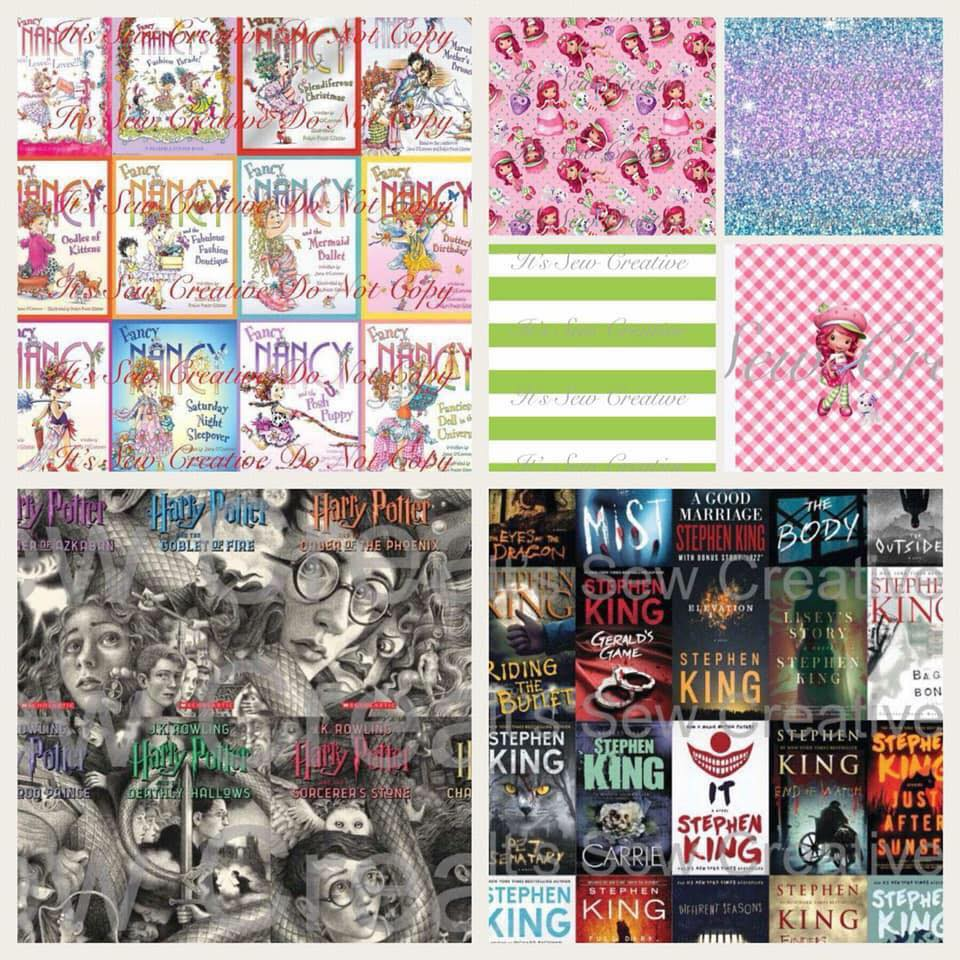 Its Sew Creative Preorder Fabric Fancy Nancy, Strawberry Shortcake, Harry Potter, Stephen King