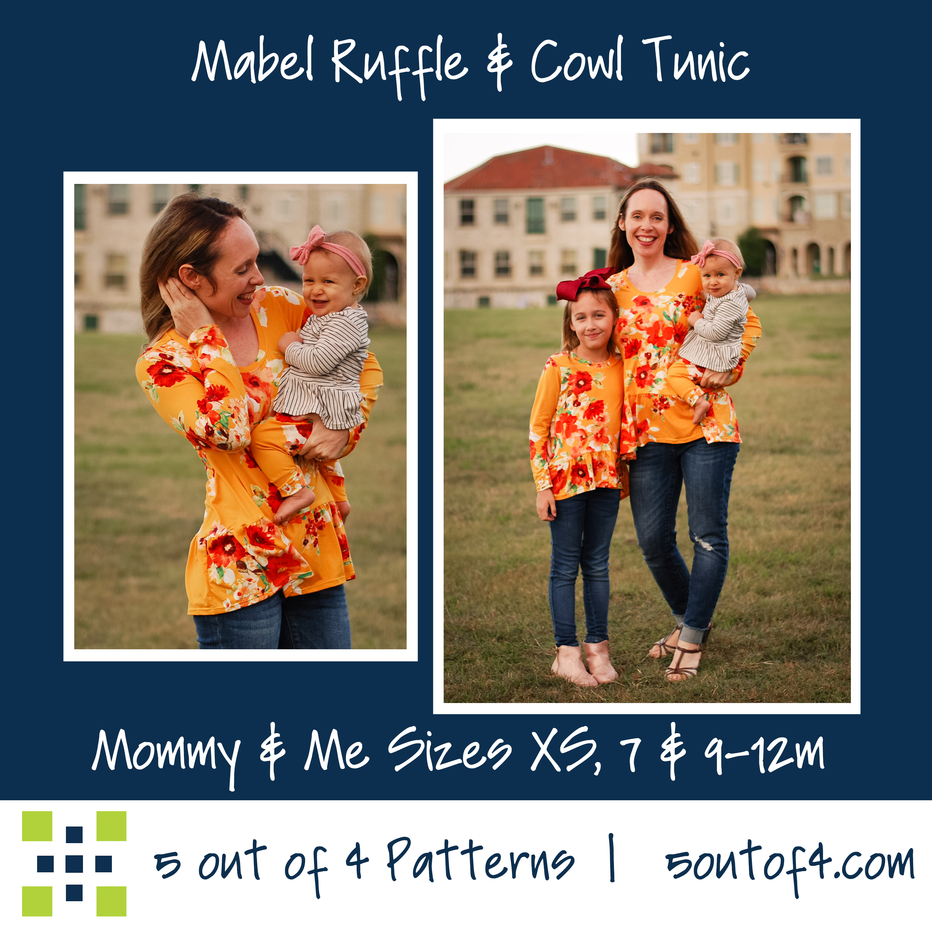 Mommy and Me Ruffle and Cowl Tunic Sewing Pattern Release and Sale by 5 out of 4 Sewing
