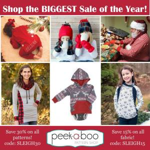 Peek A Boo Black Friday Sewing Pattern and Fabric Sale