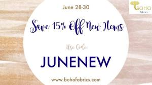 Boho Fabrics 15% off New Items