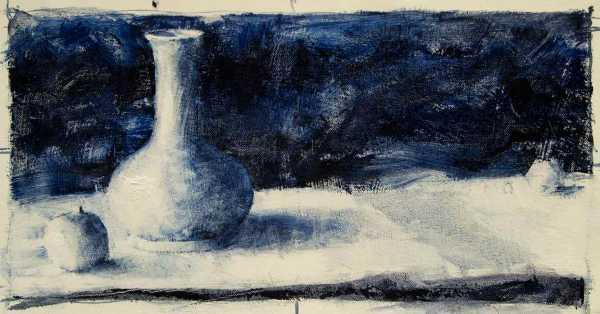Monochromatic Vase and Apples Painting Seamus Berkeley