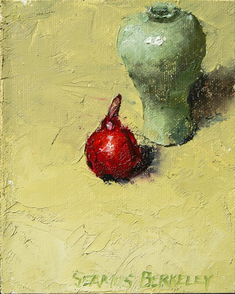 Red Pear Green Vase Painting Seamus Berkeley