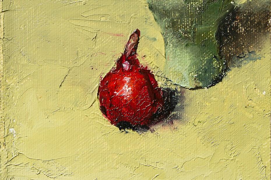 Red Pear Green Vase Painting Seamus Berkeley