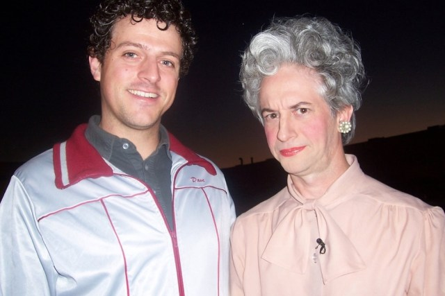 Comedian Chris Fairbanks and Barbara Bush, aka Rob Williams.