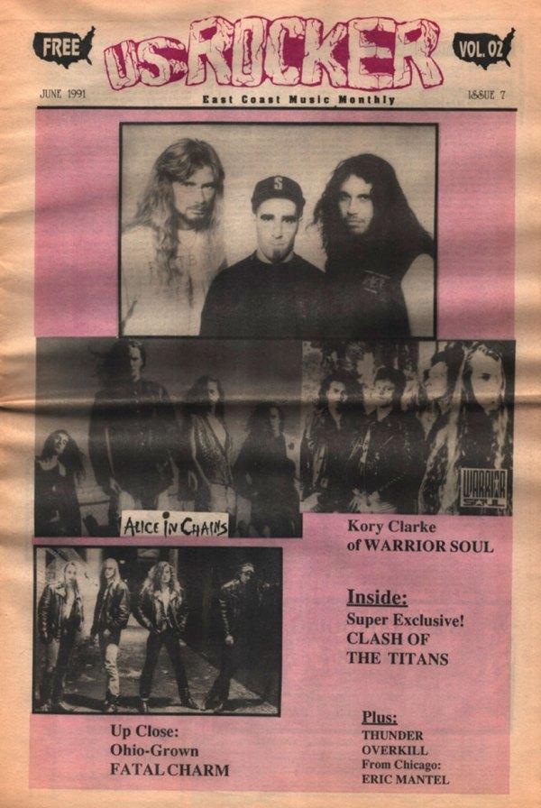 U.S. Rocker June 1991 Cleveland Anthrax Alice in Chains Fatal Charm Warrior Soul