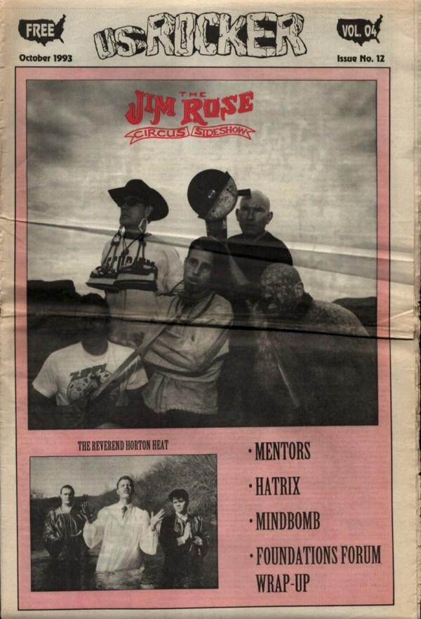 U.S. Rocker, October 1993 Cleveland Jim Rose Circus Sideshow Mentors Hatrix