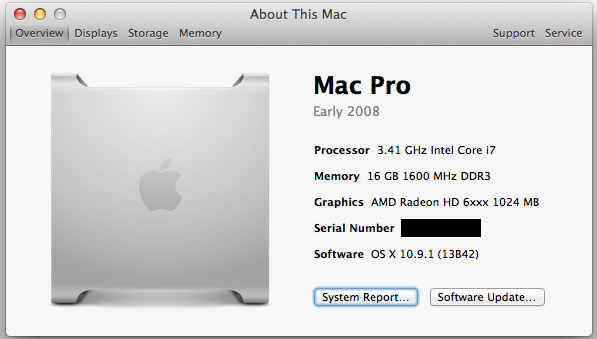 """About This Mac"" screen for a custom Hackintosh running Mavericks."