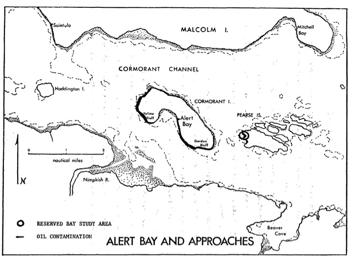 Map of oil spill on beaches of Cormorant Island, 1973. Source: D.R. Green, C. Bawden, W.J. Cretney, and C.S. Wong, The Alert Bay Oil Spill: A One-Year Study of the Recovery of a Contaminated Bay (Victoria: Environment Canada, 1974)